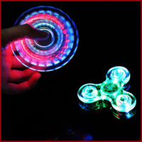 Wholesale Lighted Novelty Toys - Fidget Spinners LED Light up Hand Spinner Transparent Switch Crystal rainbow fidget spinner Novelty Toys for Kids