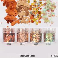 Wholesale 3mm glitter for sale - Box ml Glitter Powder Sheets Tips Bronze Gold mm mm mm Mixed Powder Nail Art Decoration