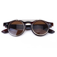 Wholesale Retro Round Flip Up Sunglasses - Wholesale- KSFS Vintage Steampunk Goggles Goth Retro Flip-Up Round Sunglasses Cosplay Prop