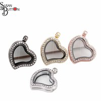 Wholesale Magnetic Shape Memory Alloys - 8pcs Mix 4 Colors Heart Shape Rhinestone Magnetic Glass Living Memory Locket Pendant Necklace Alloy Floating Charms Lockets Pendant Jewelry