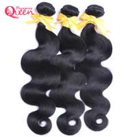 Wholesale India Body Wave Hair - Brazilian Body Wave 100% Virgin Human Hair Weaves Bundles 3 pcs Peruvian India Malaysian Cambodian Natural Black Free Shipping