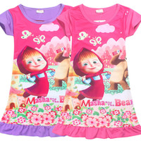 Wholesale Bath Robes Children - 2017 new Summer MASHA AND BEAR Kids Night Gown Infantil Bath Robe Baby Children masha and the bear Printing Girl's Sleepwear Dresses