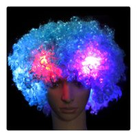 Bestseller Colorful Clown HairWig Cosplay ondulata LED si accende in fiamme HairWig divertente fan di Circus Halloween Carnival Glow Party Supplies