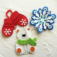 Wholesale Cheaper Wall Stickers - Wholesale-3PCS LOT. BIG 15cm DIY christmas fridge magnet craft kits Wall stickers X'mas toys Early educational toy Goody bag,3design Cheap