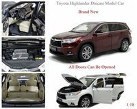 Brand New Diecast Modell Car para Toyota Highlander 1 18 Scale Car Collection Brinquedos 3 cores Atacado e Varejo por PaudiModel