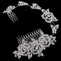 Wholesale wedding hair royal crown online - Royal Luxury Shining rhinestone Baroque Wedding Crowns Bridal Veil Tiara Crown Headband Hair Tiaras Combs Jewelries