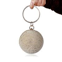 ingrosso borsa borsa in rilievo dell'annata-Borsa da sera per donna con perla piena Borsa rotonda per donna con frizione in rilievo di diamanti Borsa a mano vintage