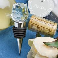 ingrosso scatola di cristallo-Tappo di bottiglia di vino di rose di cristallo di nozze con bella scatola di regalo piccolo d'argento 13 * 7.6 * 4.2cm fabbrica direttamente vendita