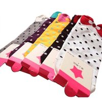 Wholesale Hot Sale Women Cute D Bow Polka Dot Pattern Candy Color Cotton Blended Ankle Short Socks RCX EK2