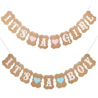 Wholesale Baby Boy Bunting Banner - 5Set Baby Shower 3M Paper Its a Boy Girl Banner Party Baptism Decorations Bunting Favors Supplies Blue Pink Babyshower