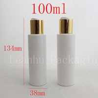 Wholesale Personal Press - Wholesale- 100ml X50 white round empty PET travel bottle with gold aluminum disc top cap press,family oil DIY spa bottles container 3.3oz