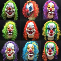 Wholesale Holloween Costumes Women - Scary Clown Mask With Hairs Adult Costumes Latex Halloween Party Cosplay Face Masks For Holloween Party