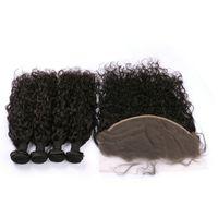 doğal insan saç kapatmaları toptan satış-13x6 Kulağa Dantel Frontal Kapatma ile 4 Demetleri Işlenmemiş Su Dalgası Doğal Renk Moğol İnsan Saç Frontal FDSHINE ile Örgüleri