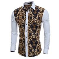 çiçek zayıf fit erkek gömlek toptan satış-Toptan-2016 Büyük Vintage Çiçekli Baskılar Erkek Gömlekler Uzun kollu Slim Fit Casual Sosyal Camisas Masculinas için Adam Chemise homme