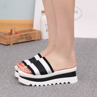 Wholesale High Platfrom - Striped slipper high heels ladies summer shoes satin color slides outside platfrom wedges women flip flop peep toe sexy shoes