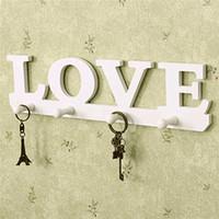 Wholesale Vintage Clothing Hangers - Vintage White LOVE Coat Hat Key Holder 4 Hooks Clothes Hat Robe Hanger Door Bathroom Home Decor Hanger