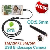 Wholesale Industrial Lens - Android Phone Micro USB Endoscope Camera 5.5mm Lens 6LED Portable OTG USB Endoscope 1M 2M 3.5M 5M USB Android Phone Borescope