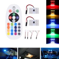 Wholesale 5050 SMD light board Remote Control Car Interior car styling LED Light RGB Dome Reading Flashing Light bulb lamp universal