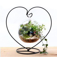 Wholesale Hanging Glass Plant Containers - Micro Landscape Miniatures Figurines Glass Container Hanging Holder Iron Stand Home Decor Flower Plant Stand ZA4289