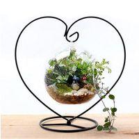 ingrosso piante in miniatura-Micro Paesaggio Miniature Figurine Contenitore di vetro Porta-attaccapanni Stand di ferro Decorazioni per la casa Flower Plant Stand ZA4289