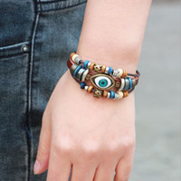 Wholesale Vintage Indian Bead Bracelet - Unisex Mens Jewelry Brown Real Genuine Leather Evil Eyes Beads Adjustable Retro Vintage Bracelets Bangles Fashion Jewelry Gift