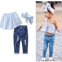 Wholesale Girls Jeans Clothes - 2017 Girls Childrens Clothing Sets Cotton Strapless Jeans Headbands 3Pcs Set Fashion Summer Girl Kids Boutique Clothes Outfits Wholesale