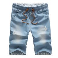 Wholesale Wholesale Men Short Jeans - Wholesale- BOLUBAO 2017 Men Short Jeans Brand Cotton Straight Ripped Holes Knee Length Shorts Jean Elastic Denim Summer Style