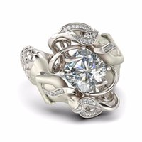 Wholesale White Wedding Ring Cushion - Fashion cute Mermaid Gemstone ring Jewelry cushion cut 8mm Simulated Diamond 925 Sterling Silver Wedding Band Rings for Women Size 5-10