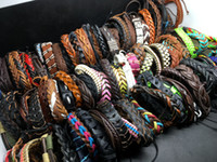 Wholesale Surfer Bracelets For Men - Wholesale 100pcs Lots Top Surfer Tribal Leather Cuff Wristband Bracelet Jewelry For Men Women Gift Mixed Style Send Random