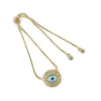 Wholesale Sterling Silver Evil Eye Charms - Hot Sale Evil Eye Jewelry Bracelet New Design Cubic Zircon Charm Round Shape Chain Bracelet ICSL262