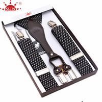 Wholesale western suspenders - Wholesale- 120CM PLUS SIZE Sun commercial clip male suspenders shoulder strap lengthen western-style trousers spaghetti strap suspenders