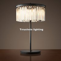 Wholesale Nickel Coffee - D350 H600mm hotel coffee table light LOFT Retro Tiffany glass crystal desk light Vintage Modern Crystal Table Lamp Desk lamp
