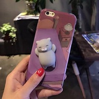 3D Squishy Squish Funny Cute Silicone Cartoon Animal Cool Stress Relief iPhone Phone Cover Case Accessoires Cat