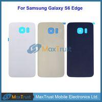 nexus back habitação venda por atacado-Qualidade superior para samsung galaxy s6 borda g925 g9250 g925f tampa da bateria traseira porta da caixa traseira com adesivo 3 cores