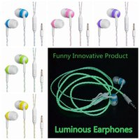 Wholesale I Phone Light - ITSYH Luminous Stereo Earphones with microphone In-Ear earbud Night Light Glowing earphone 3.5mm Plug Xiaomi I phone mp3 mp4 TW-776
