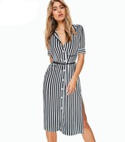 Vfemage Womens Elegante Vintage Striped Button Giù Sexy Side Spalato Fessura Belted 2017 Estate Office Office Casual Shirt Dress