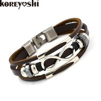 Wholesale Zinc Charm Belt Bracelet - Wholesale- 2016 Koreyoshi New Fashion Jewelry Zinc alloy Infinity Symbol Bracelets Bangles Belt Buckle Wild multi-storey Leather Bracelets