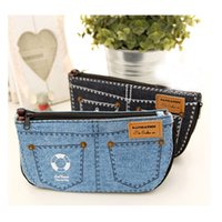 Wholesale Denim Pencil Bag - Wholesale- 2016 New Women Jean Denim Make-up Bag Multifunction Pencil Toiletry Case Purse Handbag