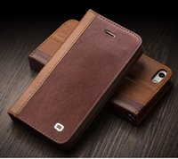 Wholesale Iphone5 Leather Wallets - Genuine Leather Wallet case Flip Cover for iPhoneSE iPhone5S iPhone5 with Stand Function