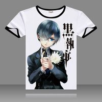 ingrosso costumi cosplay ciel nero cembalo-T-shirt 2017 Black Butler Cosplay T Shirt Black O-Neck manica corta Costumi Ciel Print Top Sebastian Casual Summer Tees