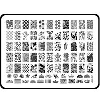 Wholesale Large Nail Art Plate - Wholesale- Blueness 3 Design Large Size 15*20cm Stainless Steel 3D Nail Art Stamper Stamping Plates Templates Stencils For Nails JH123