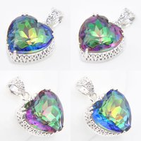 Wholesale Russia Silver - 6 Pieces Luckyshine Antique Heart Rainbow Mystic Topaz Gems 925 Sterling Silver Pendants for Neckalce Russia Canada Drop Easter gift Jewelry