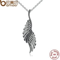 Wholesale Fine Cz Jewelry - Wholesale-BAMOER New Arrival 925 Sterling Silver Majestic Feathers Pendants Necklaces with Clear CZ Female Fine Jewelry PSN005