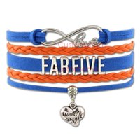 (10 PCS / Lote) Infinity Love Fab Five Favorite Teacher Bracelete Coração Wrap Azul Laranja Custom Fashion Suede Leather Bracelet