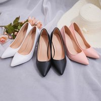 Wholesale RomenSi Fashion New High Heels Pumps Black Women Leather Shoes Girls cm Thick Heel Pink Shoes For Office Lady Size