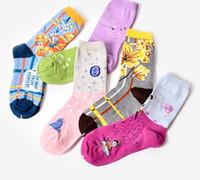 Wholesale Cheap Ladies Socks - 5 styles girls fashion socks Ladies Cotton floral Socks women HAPPY Swedish national wind sports socks top quality with cheap price