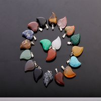 Wholesale Production Jewelry - Small crooked heart-shaped stone pendants mixed small healing wheel DIY crystal charm love necklace earrings jewelry production 25pcs   lot