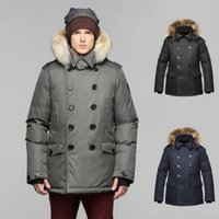 Wholesale Wool Military Coat Men Fashion - Wholesale top quality Winter jacket men jaqueta masculina Button parka Fashion Overcoat Duck down Coat army military outdoor Jacket