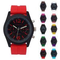 Wholesale geneva hours - Luxury PU Leather Watches Men Women Geneva Fashion Quartz Watch Military Silicone Wristwatch Men Hour Clock Relojes Hombre