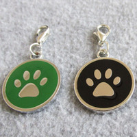 Wholesale Id Tags For Dogs - 10pcs Circle shape Paw design Zinc Alloy Pet Dog ID Tags pendants for small dogs cats